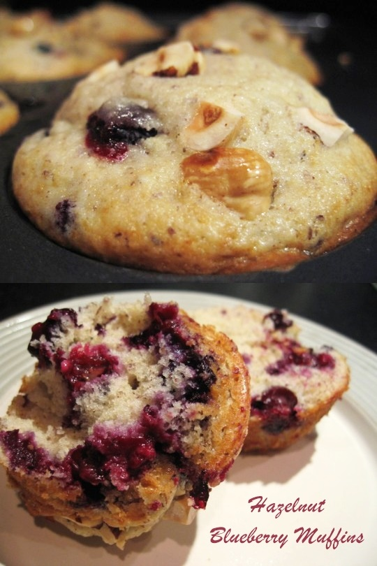 Hazelnut Blueberry Muffins - A twist on Grandma's beloved blueberry muffin recipe. (dairy-free)
