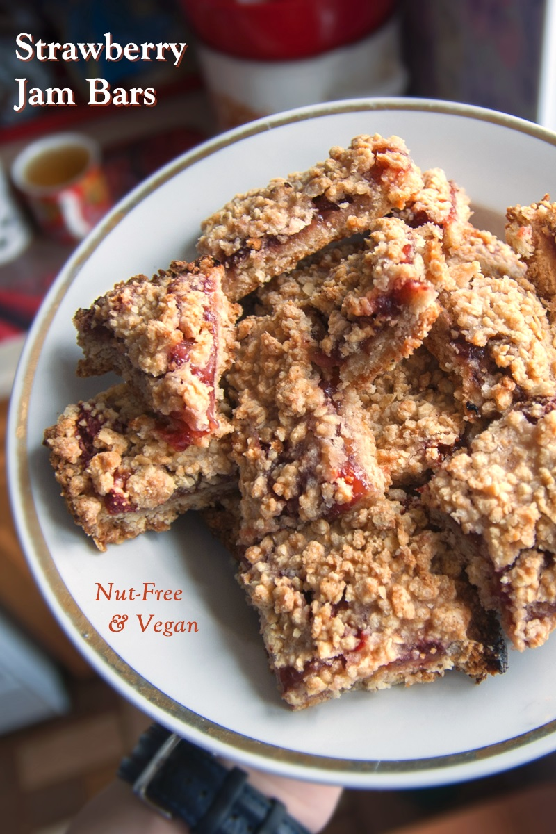 Vegan Strawberry Jam Bars Recipe - dairy-free, egg-free and nut-free!