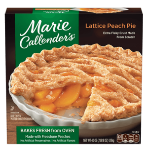 Marie Callender's Frozen Pies Reviews and Info: Dairy-Free Varieties (most are also vegan, egg-free, and nut-free). Pictured: Lattice Peach Pie