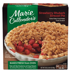 Marie Callender's Frozen Pies Reviews and Info: Dairy-Free Varieties (most are also vegan, egg-free, and nut-free). Pictured: Strawberry Rhubarb Streusel Pie