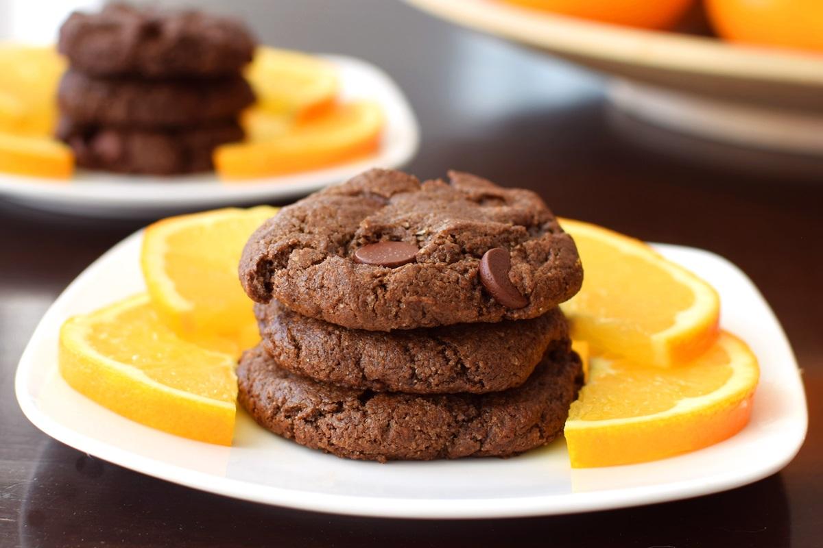 Double Chocolate Orange Cookies Recipe with Fair Trade, Organic, Dairy-Free Chocolate (vegan, gluten-free)