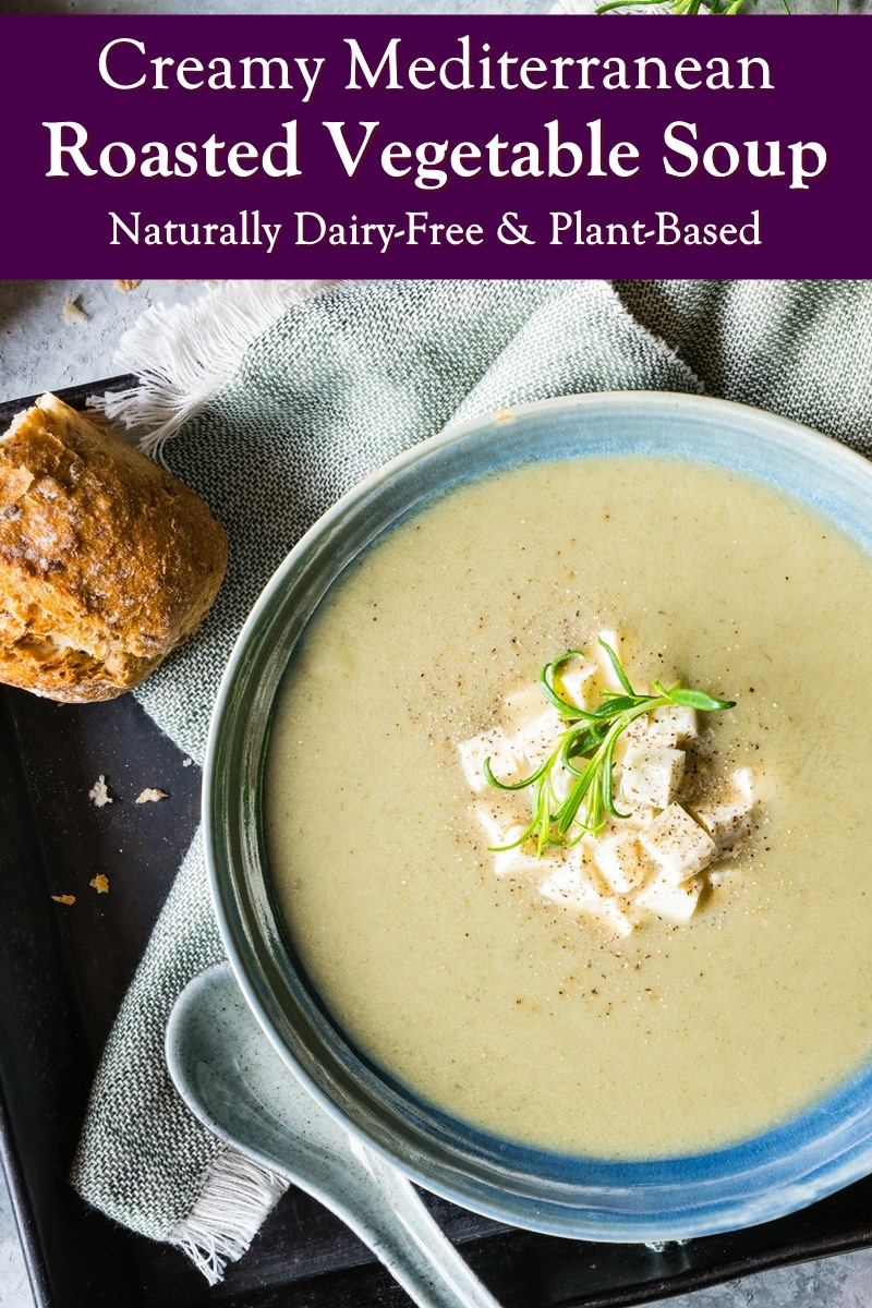 Creamy Mediterranean Roasted Vegetable Soup Recipe - Dairy-Free, Plant-Based, Paleo, and Allergy-Friendly. Made with eggplant / aubergine, zucchini / courgette, and bell peppers
