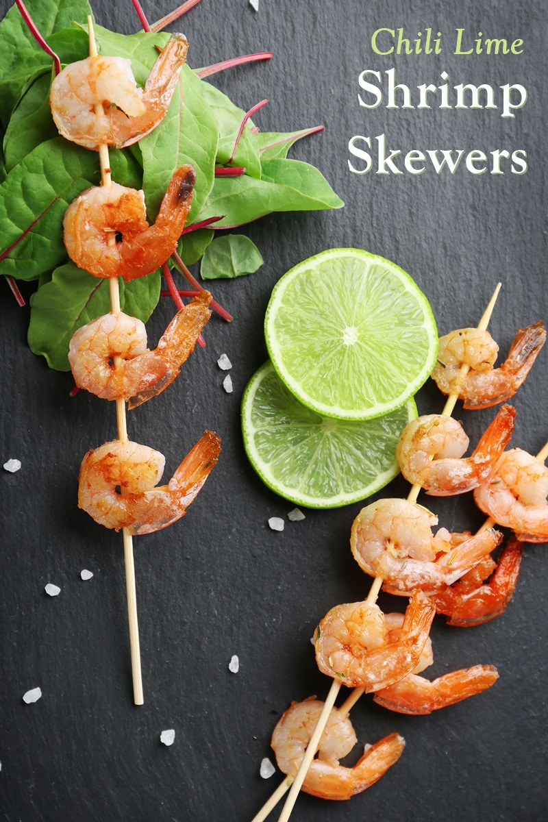 Chili Lime Shrimp Skewers Recipe - great protein for naturally dairy-free, gluten-free, soy-free, nut-free main (Mexican or Spanish style)