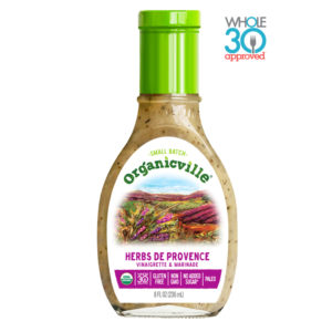 Organicville Salad Dressing Reviews and Info - dairy-free ranch, vegan vinaigrettes, whole 30 approved! Pictured: Herbs de Provence
