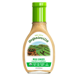 Organicville Salad Dressing Reviews and Info - dairy-free ranch, vegan vinaigrettes, whole 30 approved! Pictured: Miso Ginger