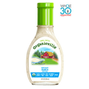 Organicville Salad Dressing Reviews and Info - dairy-free ranch, vegan vinaigrettes, whole 30 approved! Pictured: Non-Dairy Ranch