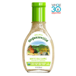 Organicville Salad Dressing Reviews and Info - dairy-free ranch, vegan vinaigrettes, whole 30 approved! Pictured: White Balsamic