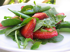 Arugula, Strawberry, and Sugar Snap Pea Salad