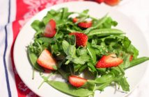 Arugula, Strawberry, and Sugar Snap Pea Salad Recipe - naturally paleo, vegan, gluten-free, dairy-free, nut-free, and allergy-friendly. Great for spring, summer, or Christmas