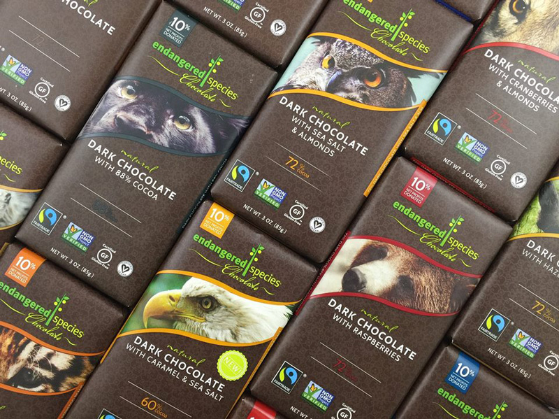 Endangered Species Organic Fair Trade Chocolate - available in a variety of unique dairy-free vegan flavors!