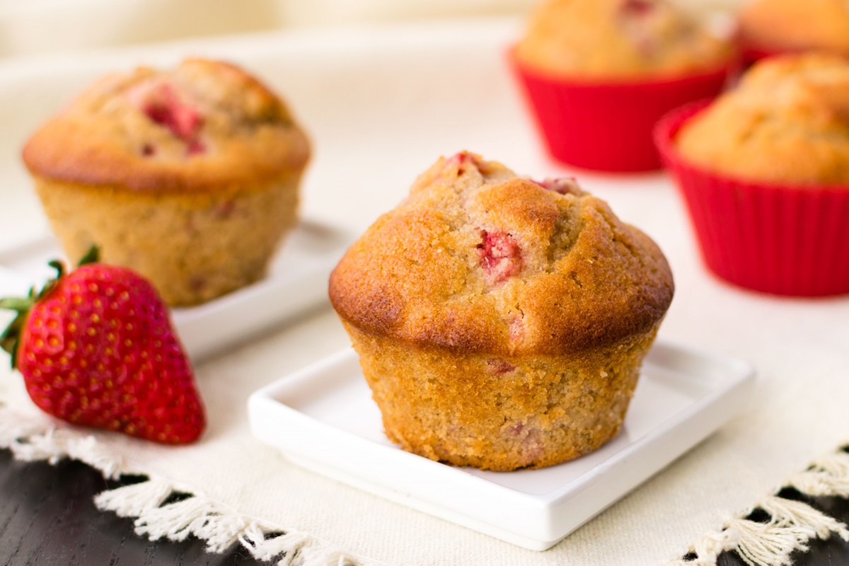 Strawberry Smash Muffins Recipe - A Healthier Version! Dairy-free with vegan and allergy-friendly options too.