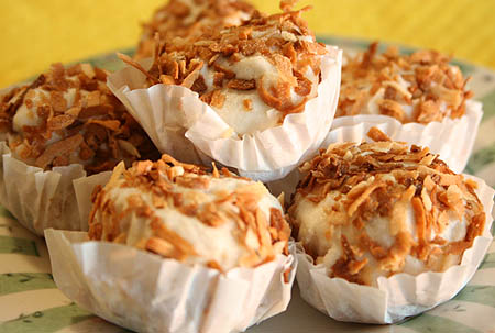 Banana Ice Cream and Toasted Coconut Bites