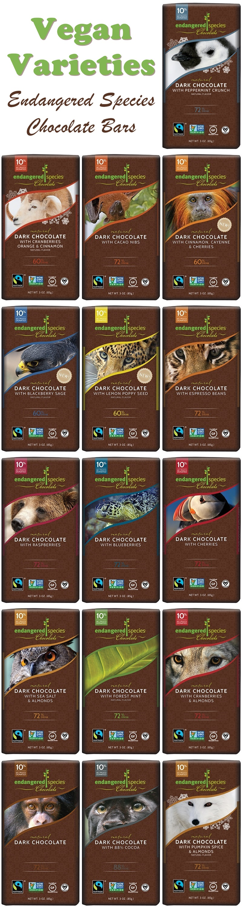 Endangered Species Chocolate Bars - Review and List of Vegan and Dairy-Free Varieties