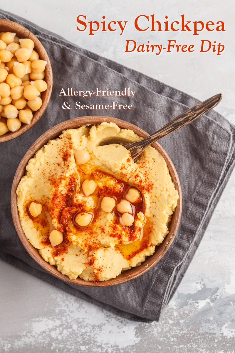 Spicy Chickpea Dip Recipe that's Deliciously Dairy-Free and Sesame-Free - also gluten-free, vegan and allergy-friendly. Great for parties, lunch boxes, superbowl, and recipes