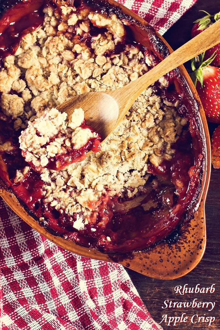 Rhubarb Strawberry Apple Crisp Recipe (dairy-free and vegan)
