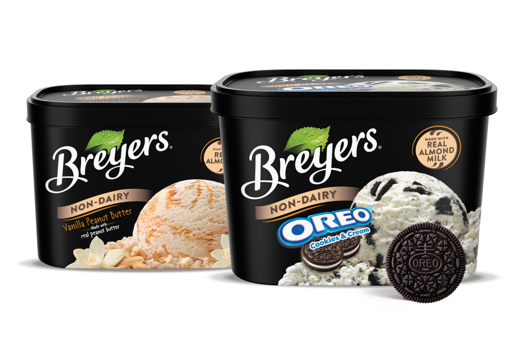 Breyers Non-Dairy Ice Cream Reviews and Info - Almond Milk Frozen Dessert that's dairy-free, vegan, and sold in large tubs.