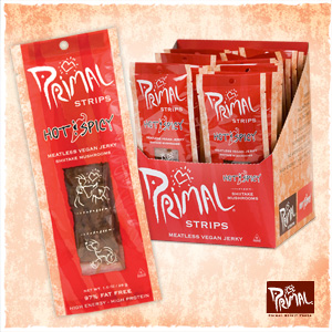 Primal Spirit Vegan Jerky Reviews and Info - meatless plant-based jerky in six flavors and several bases. High protein.