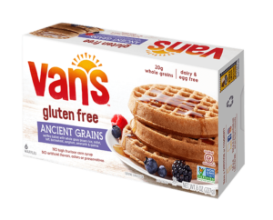 Van's Gluten-Free Frozen Waffles Reviews and Info - dairy-free, nut-free, egg-free, vegan - available in four flavors: Original, Blueberry, Apple Cinnamon, Ancient Grain.