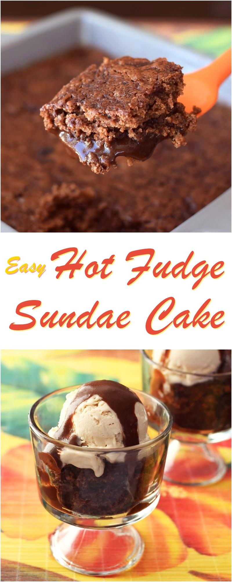 Hot Fudge Sundae Cake Recipe - Easy Dairy-Free Dessert with a cake top and magical gooey bottom