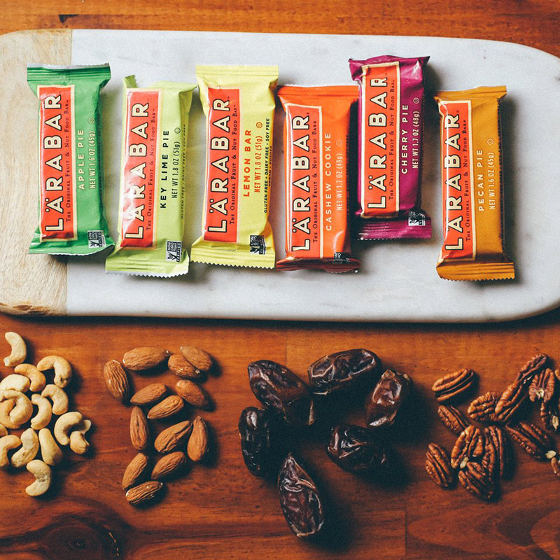 Larabar - dairy-free, vegan, gluten-free bars made from fruits, nuts, and spices. That's it!