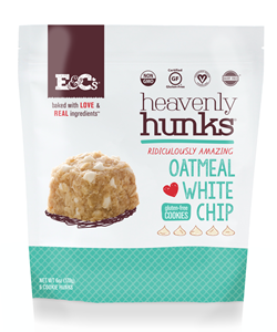 Heavenly Hunks Reviews and Info - Soft, chewy, vegan, and gluten-free cookies. Pictured: Oatmeal White Chip