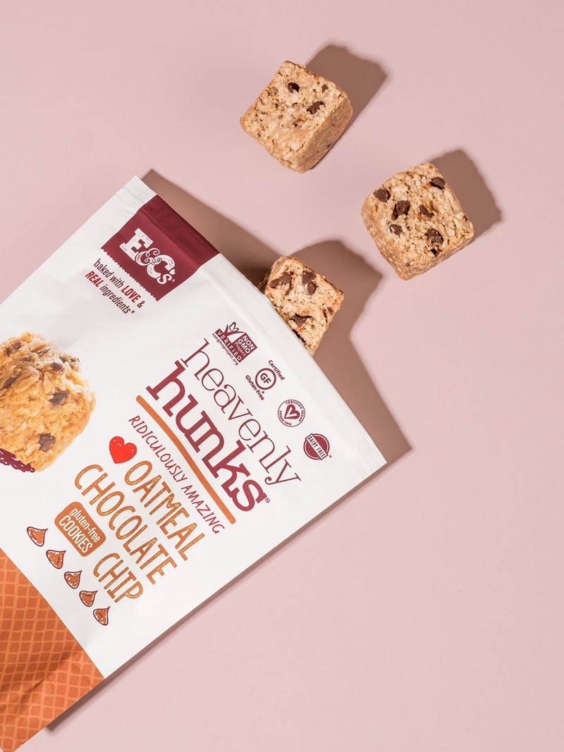 Heavenly Hunks Reviews and Info - Soft, chewy, vegan, and gluten-free cookies. Pictured: Oatmeal Chocolate Chip