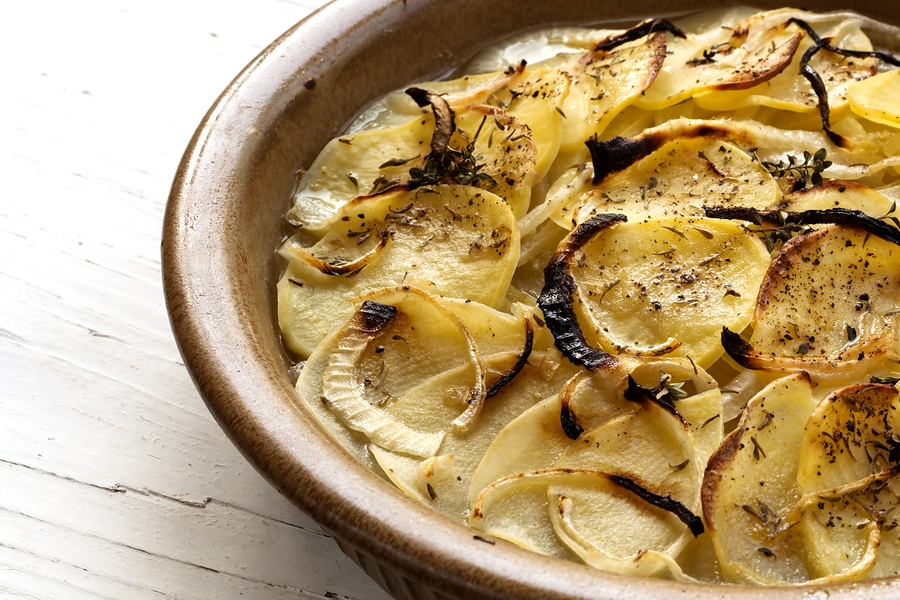 Dairy-Free Scalloped Potatoes Recipe - uses everyday ingredients and no cheese required! Easy options for vegan, gluten-free and soy-free.