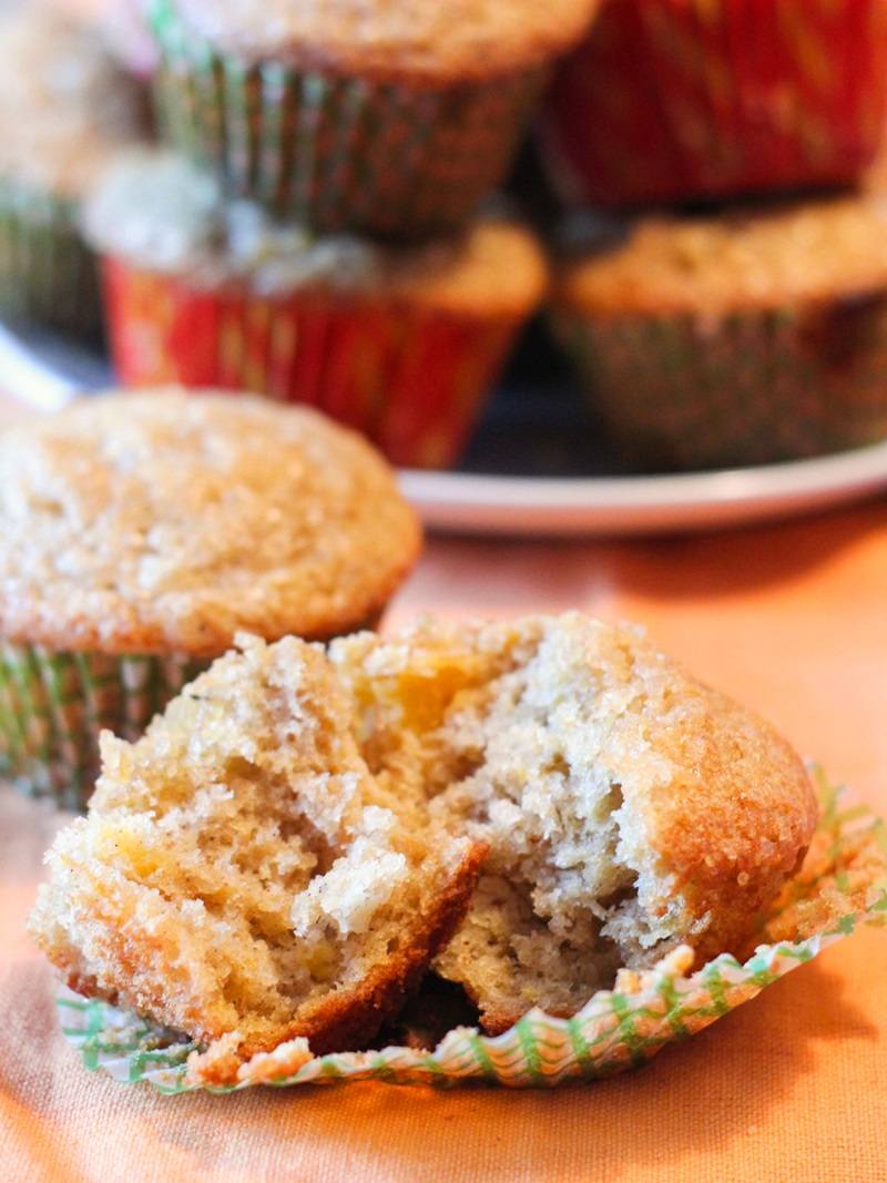 Sweet Ginger Peach Muffins Recipe (Dairy-Free, Nut-Free, Soy-Free) - can be made with fresh or frozen fruit or fruit puree!