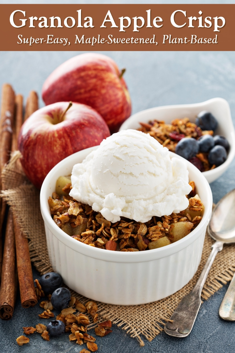 Easy Granola Apple Crisp Recipe - naturally dairy-free, plant-based, vegan, and optionally nut-free and gluten-free. So, so, easy and delicious!