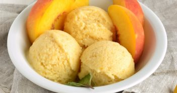 Plant-Based Peach Ice Cream Recipe that's Ready in an Instant. Dairy-free, gluten-free, soy-free, nut-free, vegan nice cream with various options.