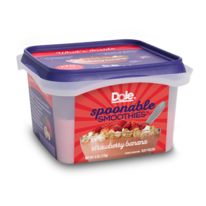 Dole Smoothie Bowls Reviews and Info - Acai Bowls, Dole Whip, and Spoonable Smoothies - dairy-free and ready-to-eat from the freezer. Pictured: Strawberry Banana