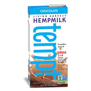 Living Harvest Tempt Hempmilk Reviews and Information - rich in essential amino acids, omega 3 and omega 6. Dairy-free, soy-free, gluten-free, vegan, with paleo and keto options. Pictured: Chocolate