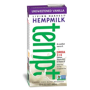 Living Harvest Tempt Hempmilk Reviews and Information - rich in essential amino acids, omega 3 and omega 6. Dairy-free, soy-free, gluten-free, vegan, with paleo and keto options. Pictured: Unsweetened Vanilla