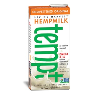 Living Harvest Tempt Hempmilk Reviews and Information - rich in essential amino acids, omega 3 and omega 6. Dairy-free, soy-free, gluten-free, vegan, with paleo and keto options. Pictured: Unsweetened Original