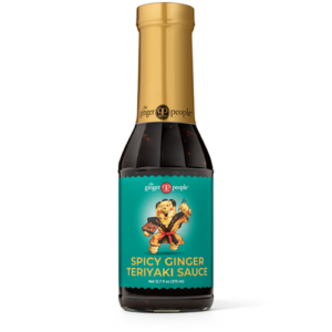 The Ginger People Sauces for Dipping, Cooking, and Marinading. All gluten-free, dairy-free, plant-based, and ginger-forward. Pictured: Spicy Ginger Teriyaki