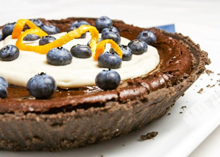 Vegan Pumpkin Chocolate Pie Recipe made without Top Allergens (dairy-free, egg-free, nut-free, soy-free, optionally gluten-free)