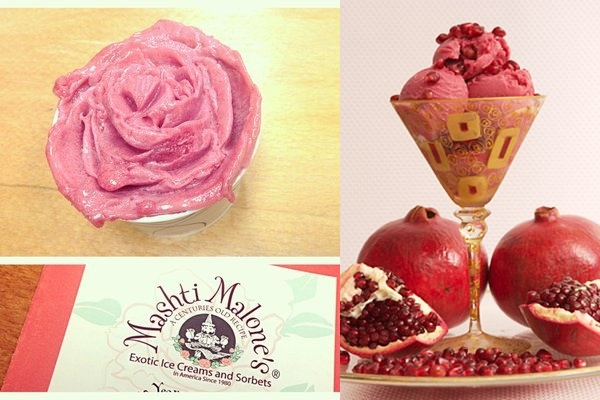 Mashti Malone's Sorbets and Non-Dairy Ice Creams: Rose and Sour Cherry Sorbet; Pomegranate Sorbet
