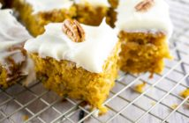Pumpkin Spice Cake Bars Recipe with Dairy-Free Cream Cheese Frosting