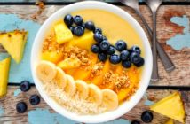 Dairy-Free Mango Colada Smoothies or Smoothie Bowls Recipe with Several Tropical Options and Tips. Plant-based, Vegan, Paleo, Gluten-free, and optionally Top Allergen Free.