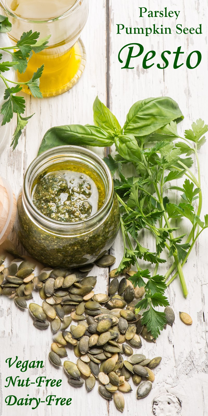 Pumpkin Seed Parsley Pesto Recipe - vegan, dairy-free, nut-free, and allergy-friendly!
