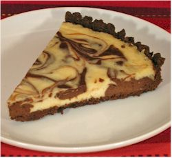 Chocolate-Vanilla Swirl Dairy-Free Cheesecake Recipe with a Gluten-Free Brownie Crust (vegan optional)