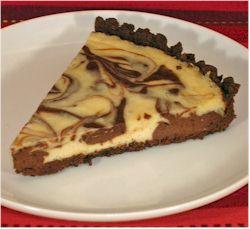 Chocolate-Vanilla Swirl Dairy-Free Cheesecake Recipe with a Gluten-Free Brownie Crust (vegan optional)