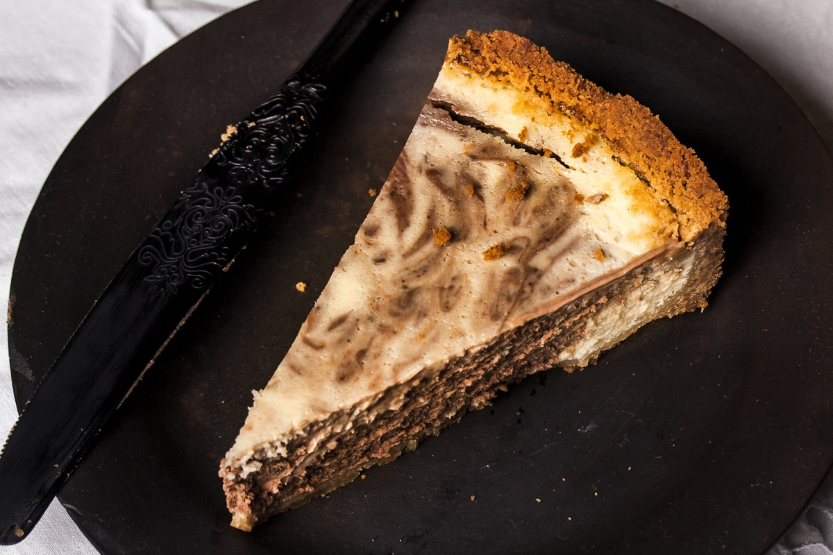 Dairy-Free Marble Cheesecake Recipe (Chocolate & Vanilla Swirled) - Also gluten-free, nut-free, and soy-free with vegan and egg-free options.
