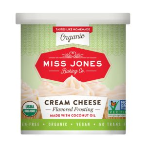 Miss Jones Frosting Reviews and Info - organic, vegan, dairy-free, nut-free, soy-free, gluten-free - in Vanilla, Chocolate Cream Cheese, Confetti, and Salted Caramel Flavors.