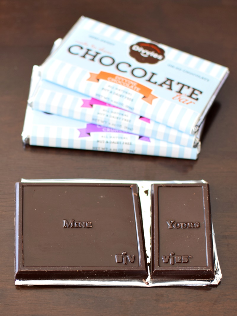 Divvies Chocolate Bars: Made to Share - that looks fair, don't you think? (dairy-free, nut-free, vegan)