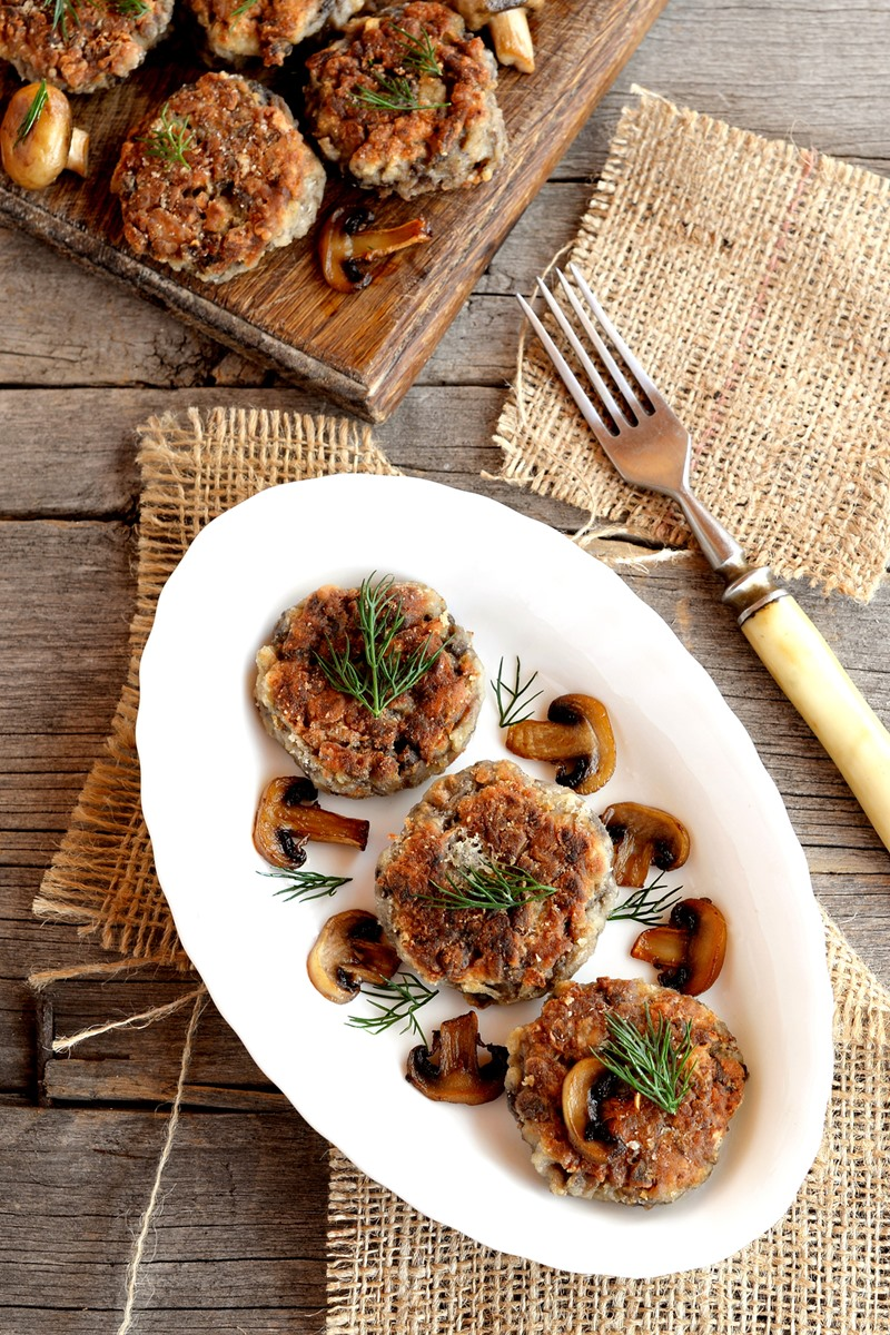 Mushroom Schnitzel Recipe - easy fritters or cutlets that are dairy-free, vegetarian, and optionally gluten-free