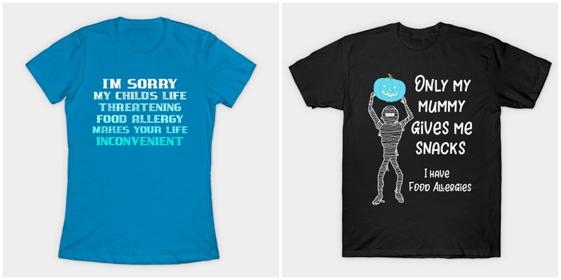 The Food Allergy Apparel for All Ages. T-shirts, hoodies, onesies, and more for spreading awareness.
