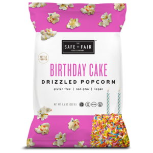 Safe + Fair Drizzled Popcorn Reviews and Info - Dairy-Free, Vegan, Gluten-Free, Nut-Free, and Soy-Free. In 5 dessert-inspired flavors. Pictured: Birthday Cake