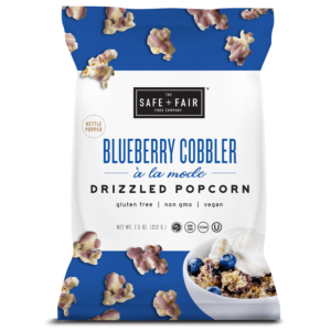 Safe + Fair Drizzled Popcorn Reviews and Info - Dairy-Free, Vegan, Gluten-Free, Nut-Free, and Soy-Free. In 5 dessert-inspired flavors. Pictured: Blueberry Cobbler A La Mode