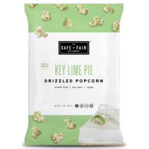 Safe + Fair Drizzled Popcorn Reviews and Info - Dairy-Free, Vegan, Gluten-Free, Nut-Free, and Soy-Free. In 5 dessert-inspired flavors. Pictured: Key Lime Pie